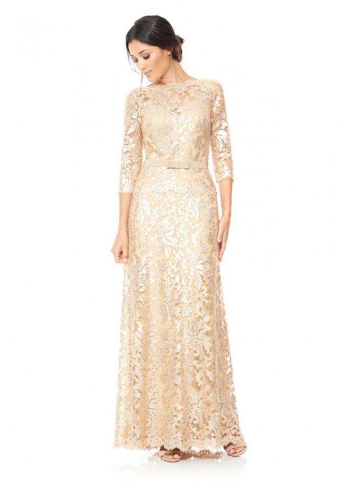 珠片绣花蕾丝腰带装饰七分袖长裙