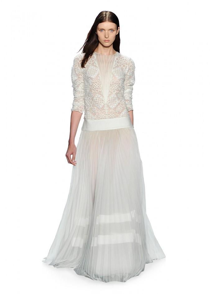 绣花蕾丝压褶长裙套装