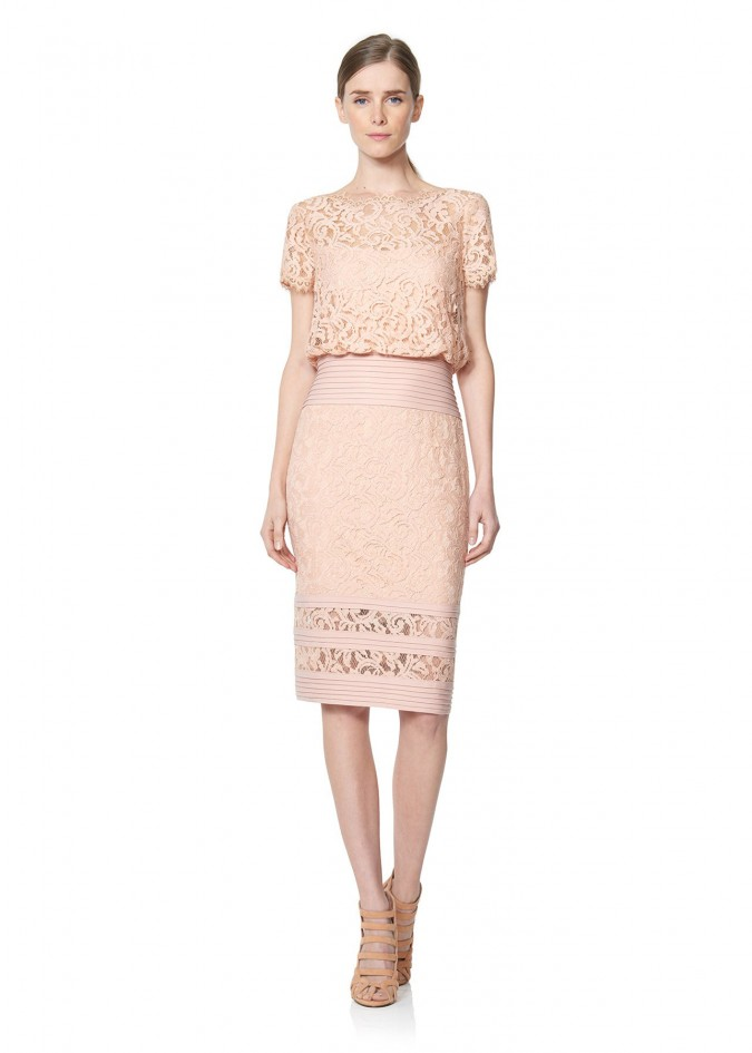 绣花蕾丝打条针织连衣裙