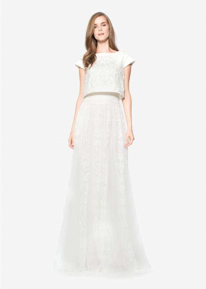 绣花网纱假两件式摆浪长裙