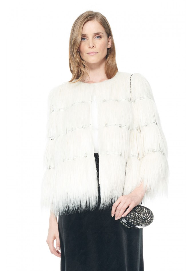 层叠设计水晶装饰皮草外套