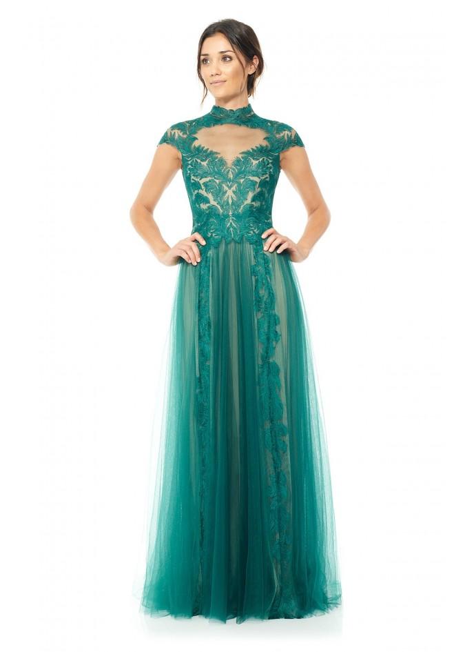 羽毛绣花蕾丝镂空网纱长裙