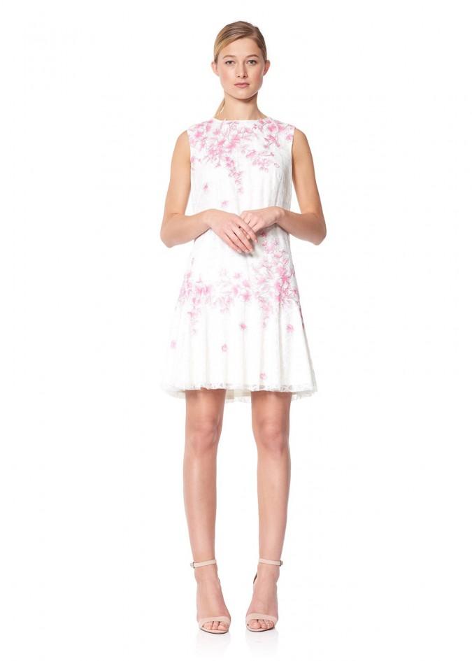 樱花蕾丝摆浪连衣裙
