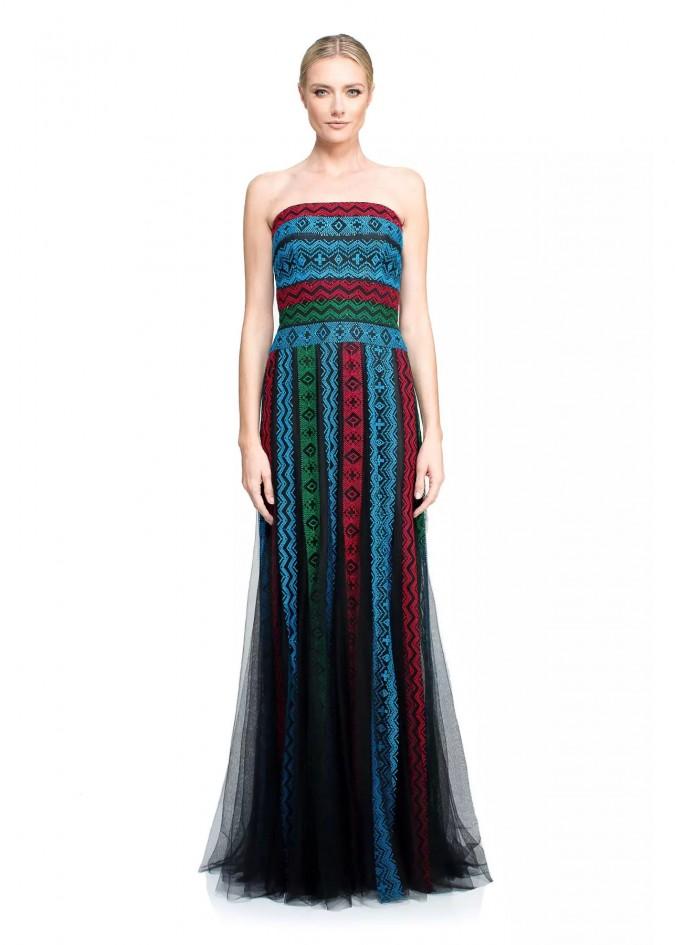 部落图案彩条抹胸长裙