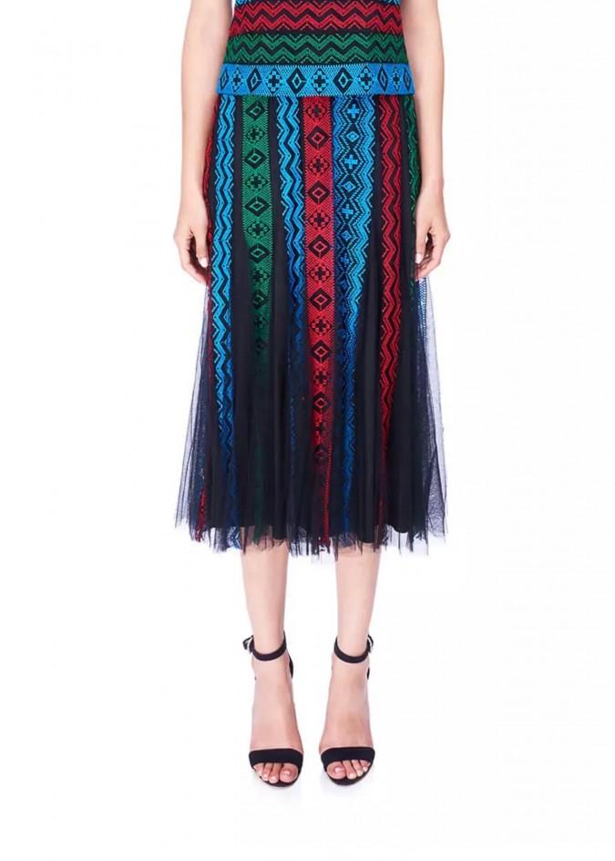 部落图案彩条裙