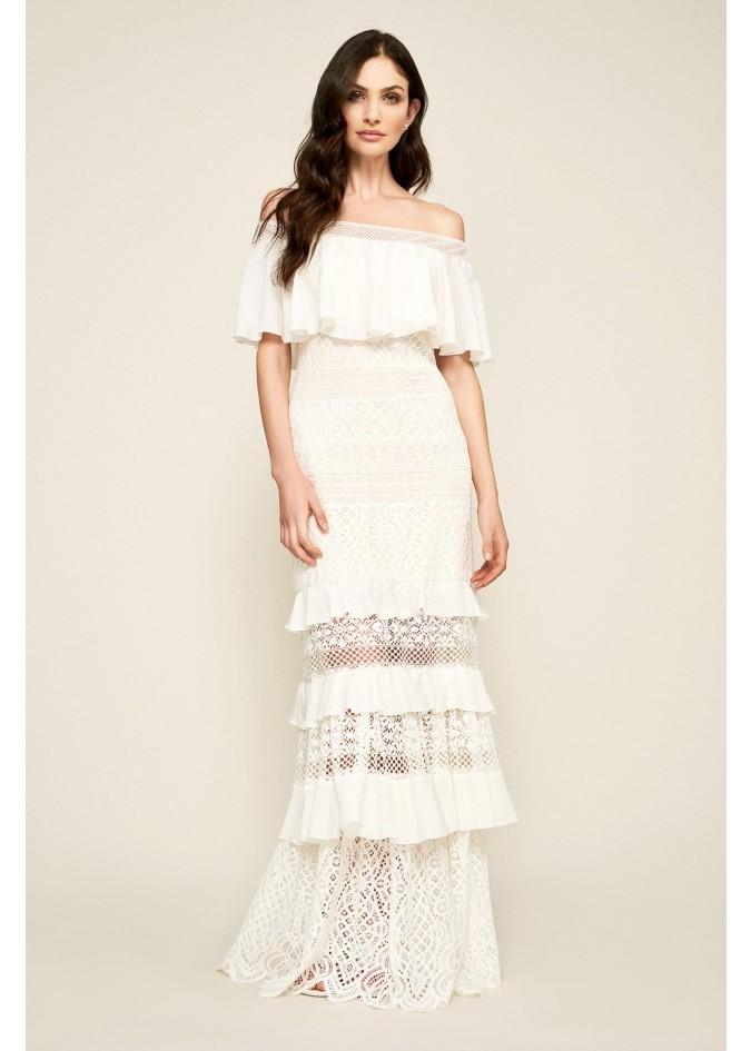露肩层叠修身长裙