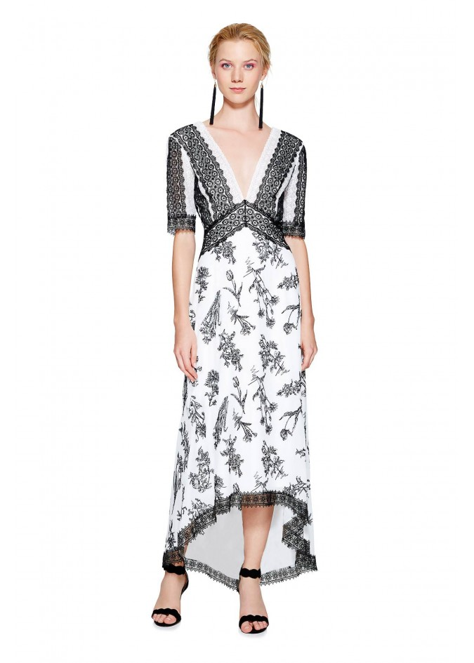 V领条纹拼接连衣裙