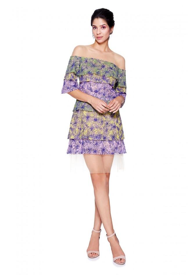 露肩层叠印花雪纺连衣裙