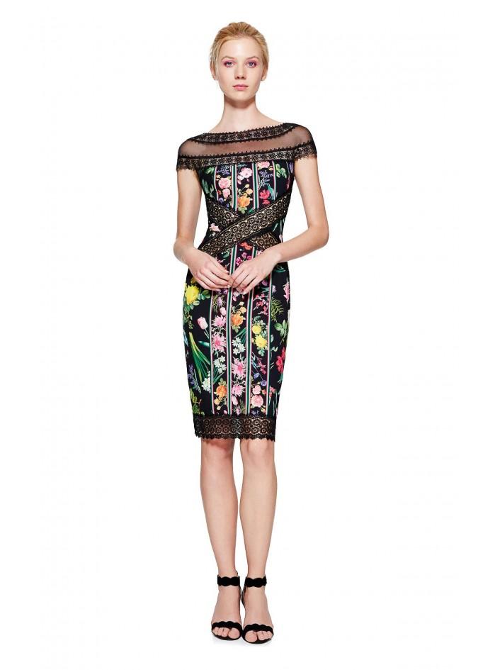 花朵印花蕾丝装饰连衣裙