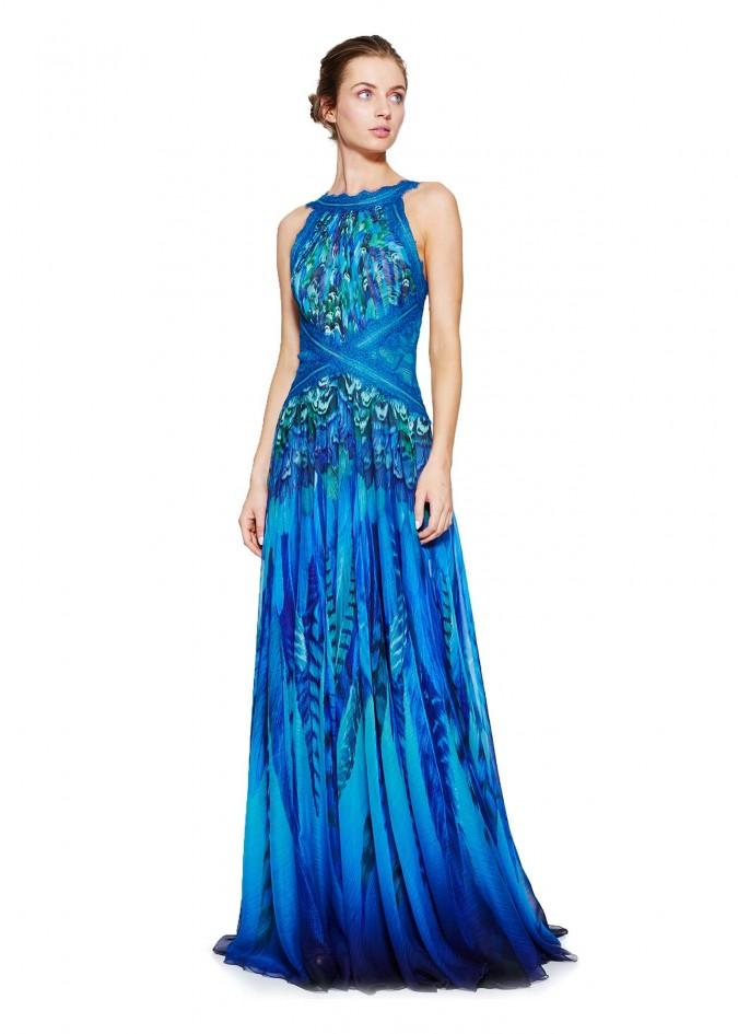 蓝色印花雪纺露背长裙