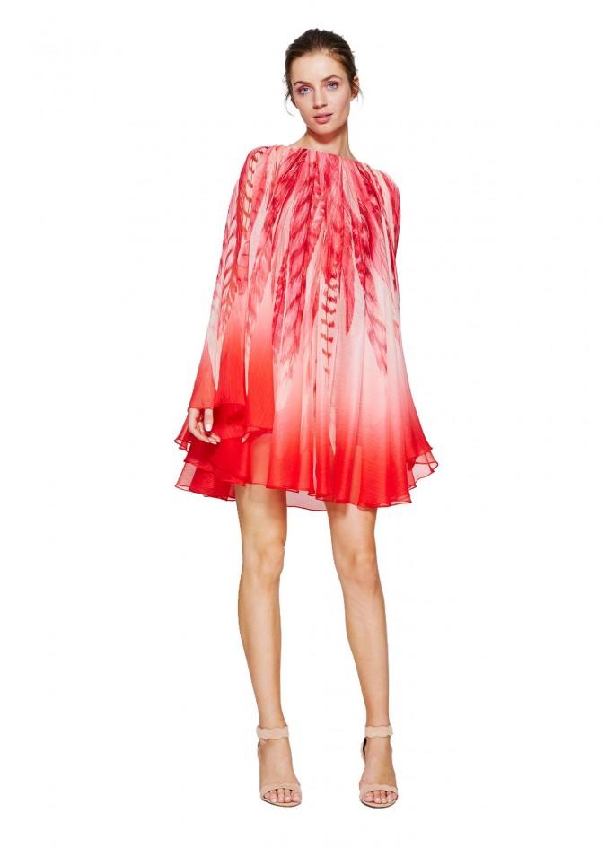 红色印花褶皱斗篷式连衣裙