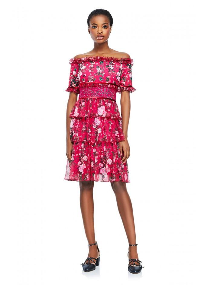 花朵印花层叠连衣裙