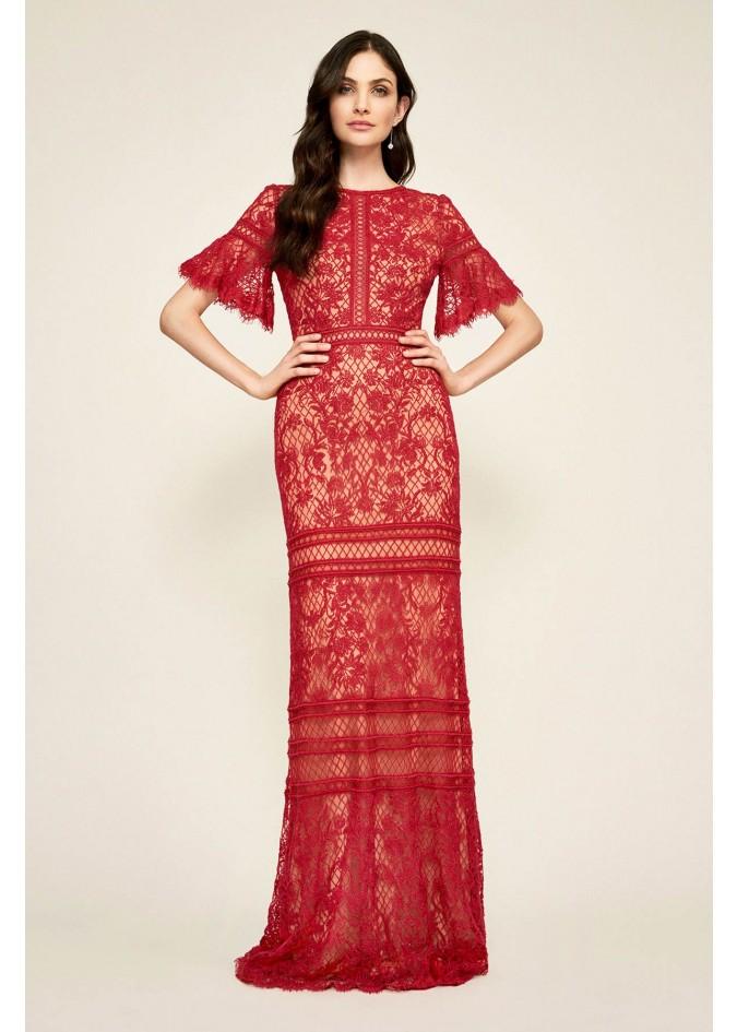 绣花蕾丝荷叶边修身长裙
