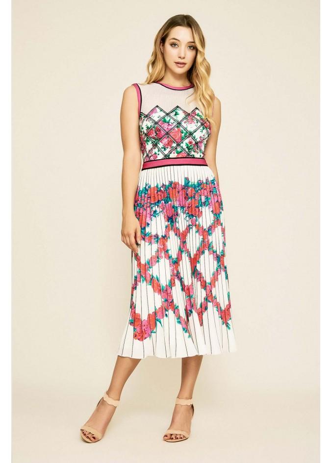 花卉几何拼接压褶连衣裙