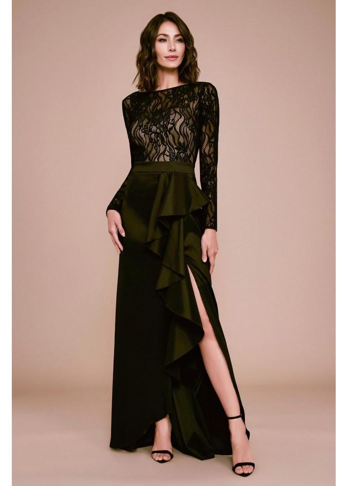 蕾丝塔夫绸拼接荷叶边捏褶装饰长裙