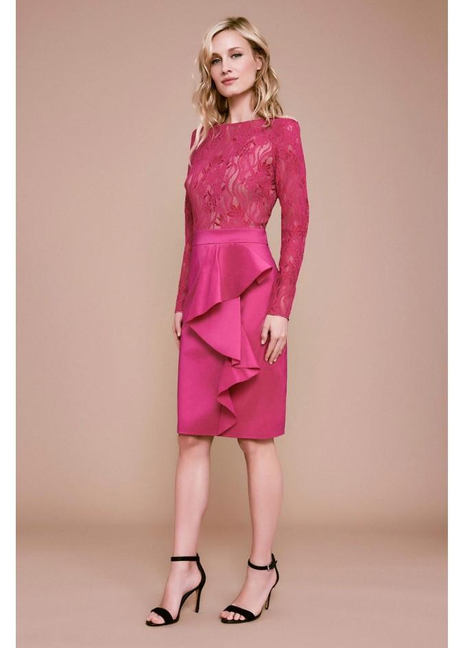 蕾丝塔夫绸拼接荷叶边捏褶装饰连衣裙