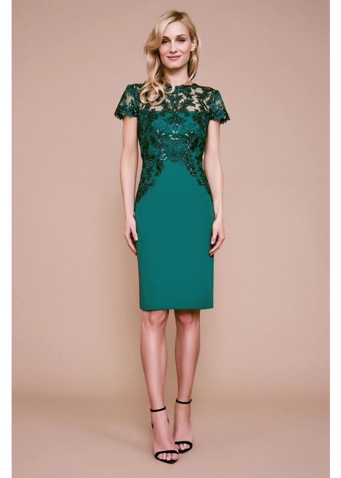 珠片蕾丝氯丁拼接连衣裙