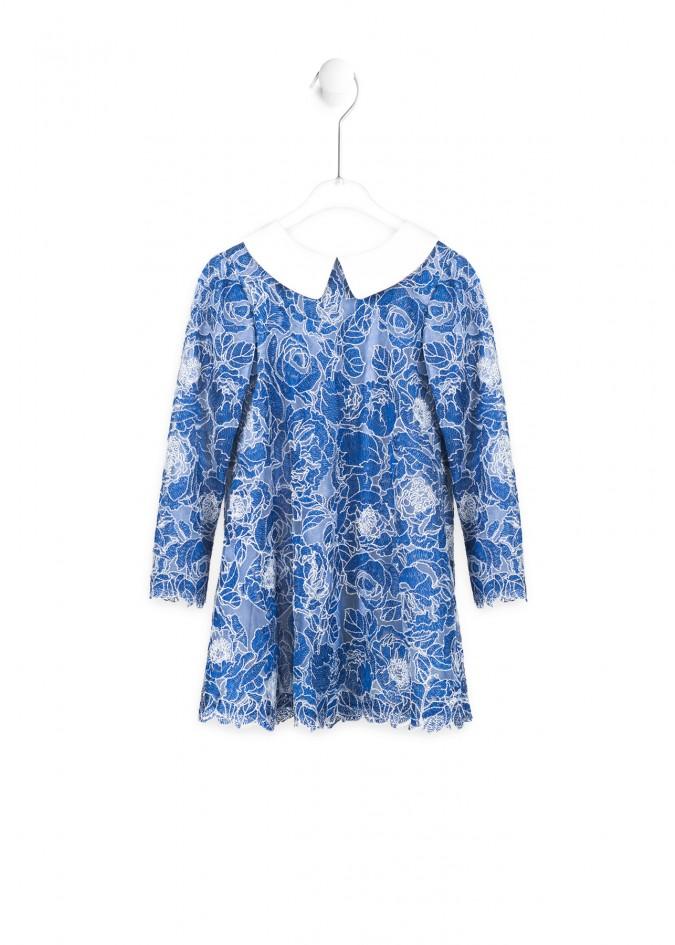 蓝色半边莲连衣裙