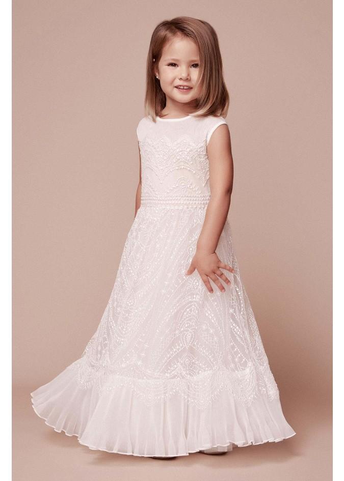 绣花蕾丝荷叶边裙摆长裙