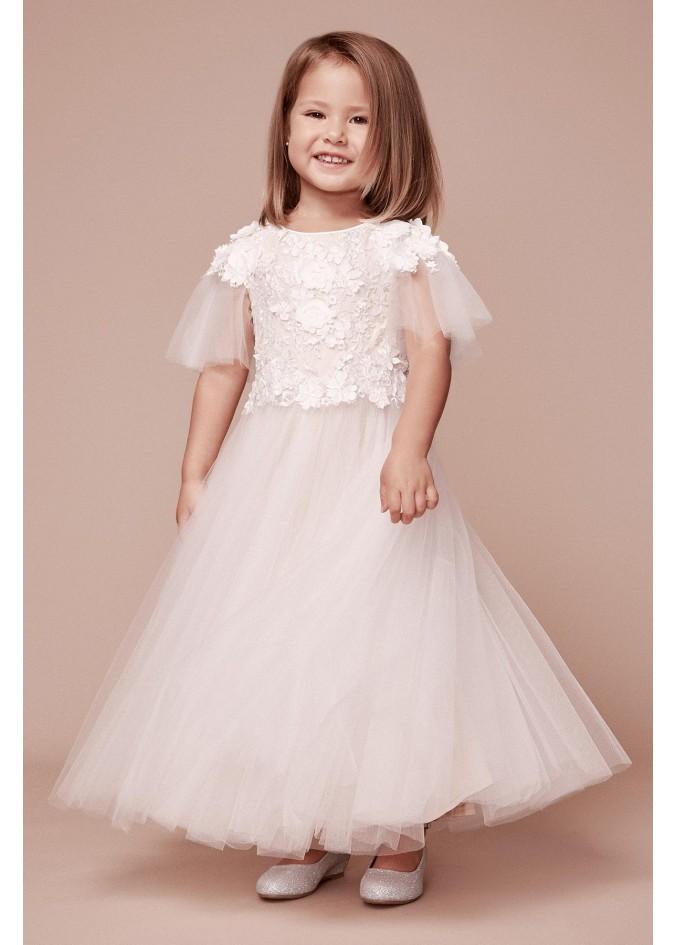 绣花蕾丝短袖网纱连衣裙