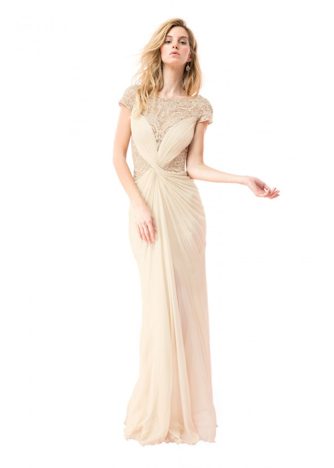 雪纺钉珠蕾丝装饰盖袖长裙