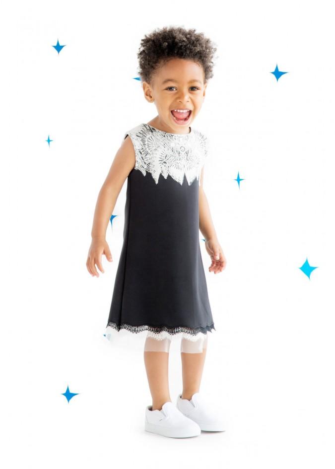黑白雪花连衣裙