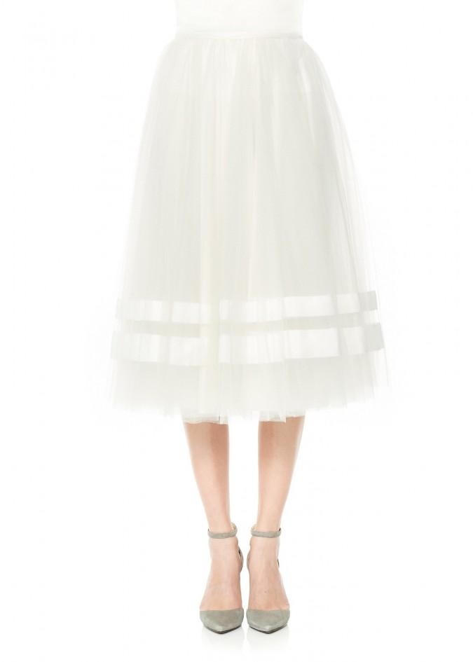 水晶褶网纱裙