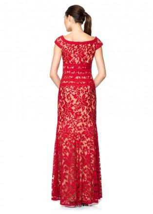 绣花蕾丝修身长裙