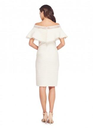 打条针织布露肩连衣裙