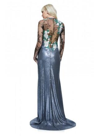 花朵网纱珠片长裙