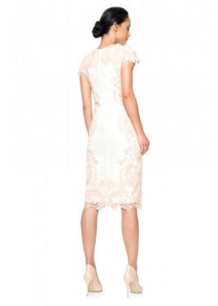 蕾丝盖袖连衣裙