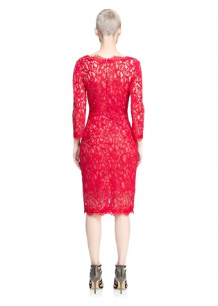 蕾丝V领直身连衣裙
