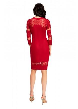 蕾丝拼接流苏装饰连衣裙