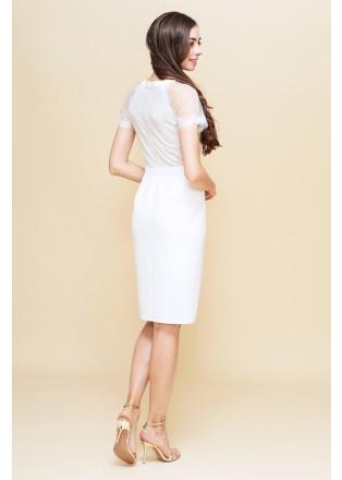 圆点薄纱蕾丝拼接直身连衣裙