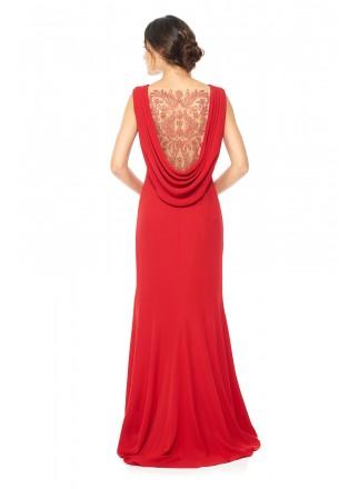后背镂空钉珠装饰垂褶绉纱长裙