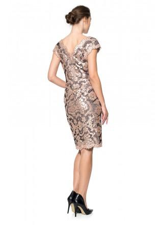 珠片绣花蕾丝V领连衣裙