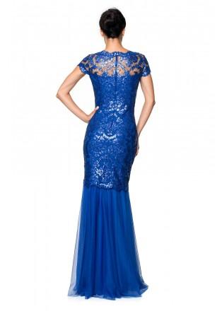 珠片绣花蕾丝网纱盖袖长裙