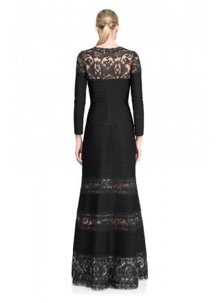 打条针织布蕾丝拼接长裙