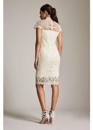 复古高领直身连衣裙