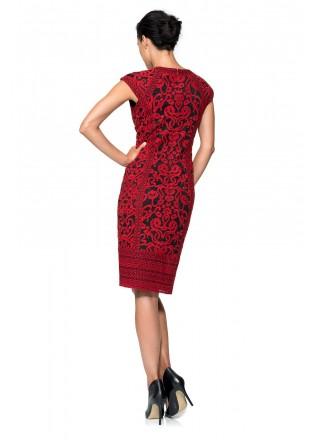 双线绣花蕾丝盖袖连衣裙