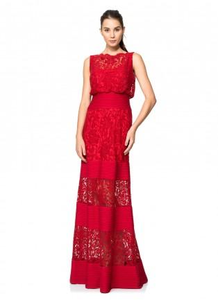 绣花蕾丝打条针织长裙