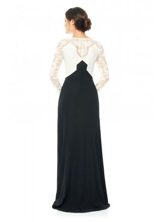 棉线绣花撞色长袖长裙