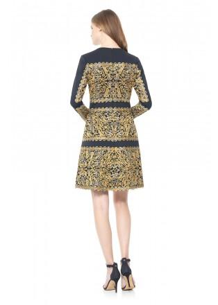 氯丁金属绣花装饰长袖连衣裙