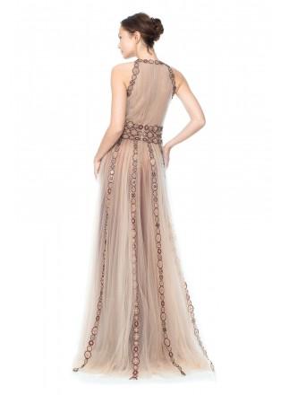 网纱齿轮图案钉珠装饰挂脖长裙
