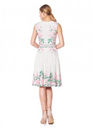 花朵蕾丝装饰网纱连衣裙