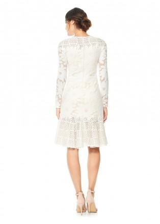 花卉蕾丝拼接长袖连衣裙