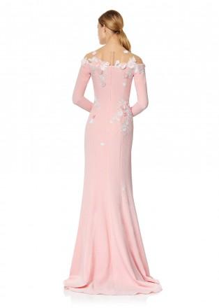 樱花蕾丝立体花朵装饰长裙