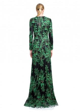 丛林绣花修身长裙