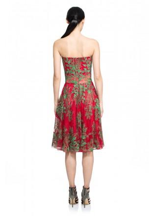 丛林绣花抹胸连衣裙