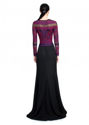 部落图案刺绣长袖礼服